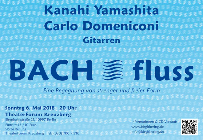 Poster design for the BACH - fluss concert with Kanahi Yamashita and Carlo Domeniconi, May 2018