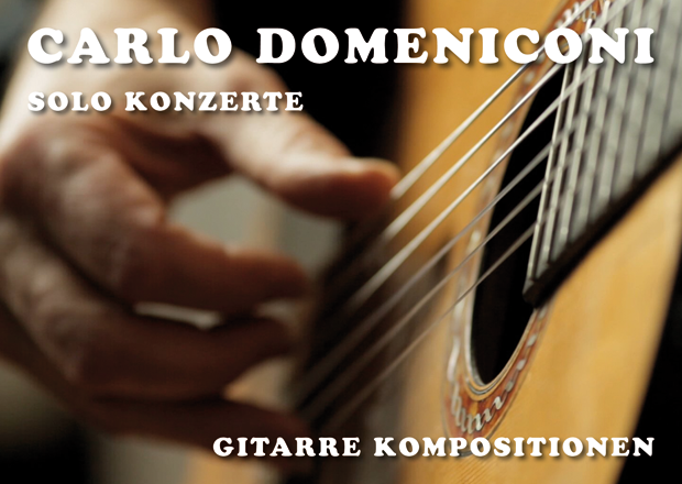 Postcard design for Carlo Domeniconi solo concerts, September-December 2015