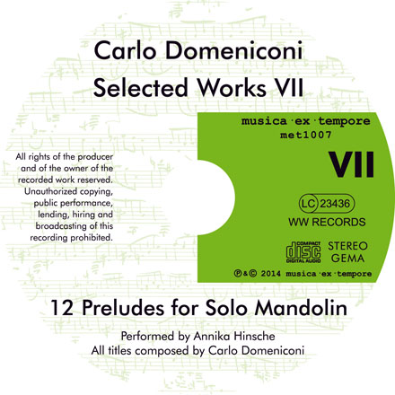 CD label for Selected Works VII: 12 Preludes for solo mandolin