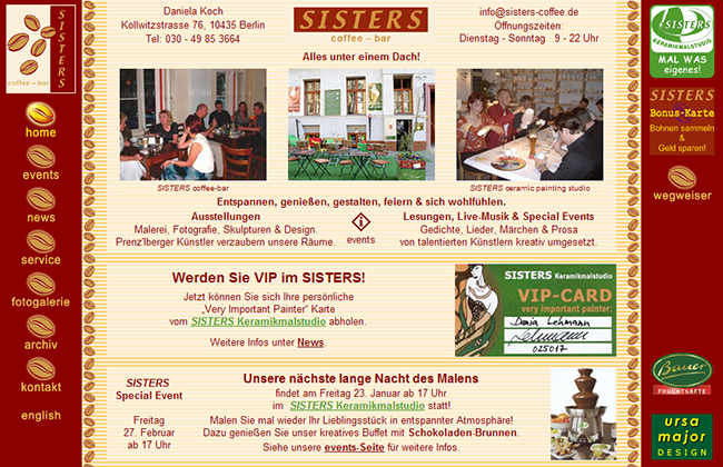 SISTERS coffee-bar website and graphic design by Ursa Major Design
