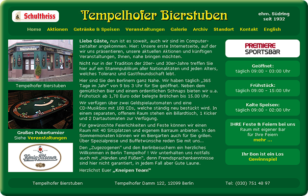 Tempelhofer Bierstuben - logo, website, graphics and publicity designed by Ursa Major Design in Berlin