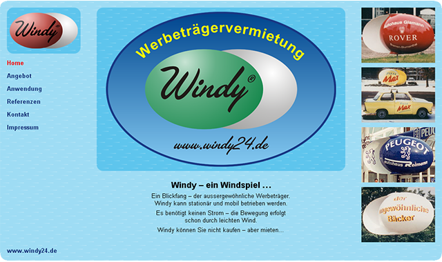 Windy 24 wind-driven advertising - website design by Ursa Major Design in Berlin
